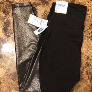 Black & gold shimmer leggings, Old Navy size M